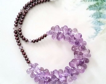 Outstanding Pink Amethyst Teardrop Briolettes Bib Necklace one of a kind