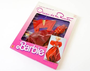 Vintage 1980s Toy Doll Clothes / 1985 Mattel Oscar de la Renta for Barbie Collector Series IX Dress In Box VGC / Ballgown Jacket Belt Shoes