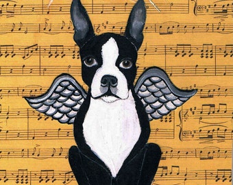 Boston Terrier Original Mixed Media Collage Painting, Love, Angel Dog