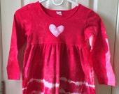 Red Hearts Girls Dress (6), Red Girls Dress, Valentine's Day Dress, Batik and Tie Dye Dress, Girls Heart Dress, Long Sleeve Dress