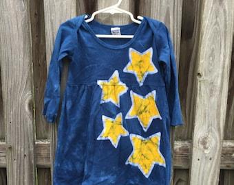 Girls Star Dress (2T), Yellow Star Dress, Blue Star Dress, Long Sleeve Girls Dress, Batik Girls Dress, Toddler Girls Dress, Blue Dress