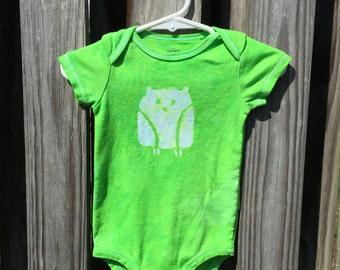 Owl Baby Bodysuit (9 months), Green Owl Baby Bodysuit, Owl Baby Gift, Gender Neutral Baby Gift, Owl Baby Gift, Baby Shower Gift