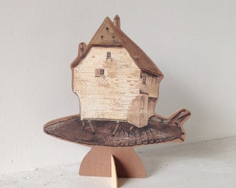 Hand painted wooden sculpture -- German House Snail