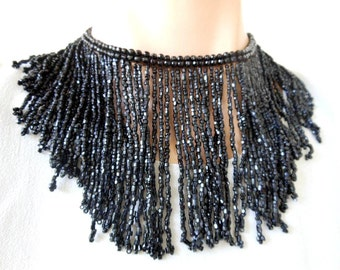Antique Beaded Collar. Jet Rain Fringe. Victorian Black Glass Beads on Bead Header.  Embellishment, Passamenterie. Vintage Necklace, Insert