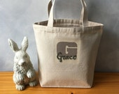 For Grace ~ CLEARANCE ~ Canvas Essentials Handbag Tote - Small Canvas Tote - LAST ONE - Name in Green on Taupe Initial - Natural Canvas Bag