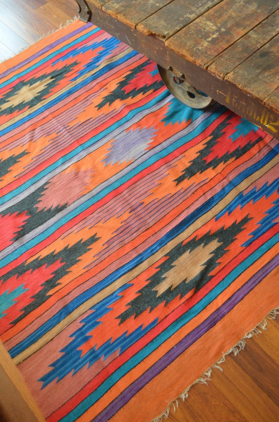 Vintage Large Mexican Hand Woven Rug Vintage Mexican Wool