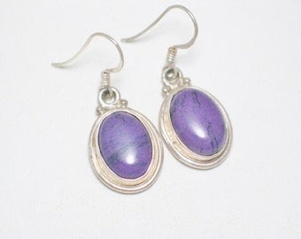 925 sterling silver purple lipstick stone oval drop dangle earrings french hook post piereced womens outfit  casual or formal