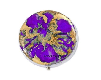 Round Metal Pill Box Hand Painted Enamel in Purple and Gold Quartz Inspired Design with Personalized and Color Options