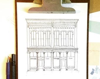 ORIGINAL CUSTOM House Portrait, Black and White House Illustration, Wedding Venue, Landmark, Hand Drawn, Original Drawing