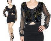 Vintage Sheer Sleeves Cropped Blouse 80s 90s Black Velvet Shirt Tie Dye Velvet Fringe Beaded Belly Dance Crop Top Midriff Shirt (S)