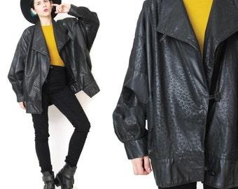 1980s Batwing Black Leather Jacket Vintage Cacharel Open Slouchy Draped Leather Jacket Leopard Print Casual Unisex Biker Leather Jacket (M)