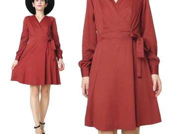 70s Red Wrap Dress Vintage Jersey Knit Dress Disco Brick Rust Red Dress Retro Long Sleeve Dress Fall Winter Mini Dress Skater Skirt (M)