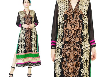 Vintage Embroidered Indian Dress Indian Sari Dress Black Sheer Sleeves Hippie Boho Ethnic Dress Neon Floral Crochet Hem Tunic Dress (S/M)