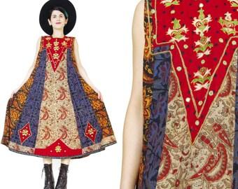 1970s Indian Cotton Dress Vintage Embroidered Dress Shisha Mirrors Hippie Boho Folk Festival Dress Red Bib Batik Print Sleeveless Dress (L)