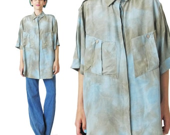 1980s Abstract Tie Dyed Blouse Watercolor Hand Dyed Short Sleeve Shirt Slouchy Womens Blouse Grey Light Blue Shirt Chest Pockets Shirt E108