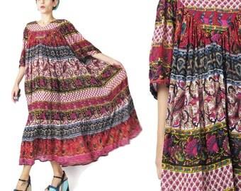 Vintage Indian Gauze Rayon Dress Hippie Summer Maxi Dress Short Sleeve Tent Dress Plus Size Ethnic Stripes Paisley Floral Sun Dress (L/XL)