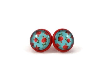 Turquoise and Red Earrings, Red Rose Earrings, Retro Earrings, Big Stud Earrings, Pin Up Jewelry, Cute Earrings, Gifts for Teen Girls