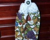 crochet top kitchen towel, finger tip towel,  fruit design with white crochet top, for the kitchen, towel, hanging towel