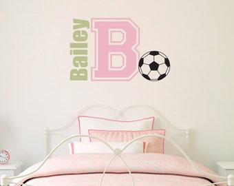 Soccer ball Decal with Name & Initial - Sports Wall Decal - Children Wall Decal - Soccer Wall Decal - Medium