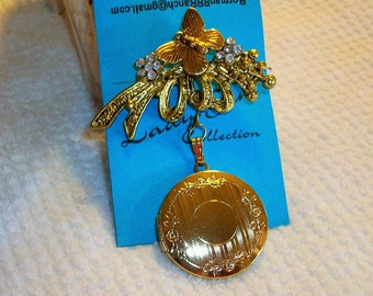 Gold Filled Butterfly Filigree Brooch with Gold Locket  481087761  Free Shippin in USA