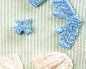 BABY KNITTING PATTERN - Hats and Mittens - 6 to 18 months - Cable Knit Hat and Mitts Easy Knit