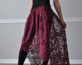 Burgundy Hi- Low Ruffle Bustle Skirt Overskirt, Steampunk, Bohemian, Gypsy, Wedding Bridesmaid, Renaissance Gothic Victorian Gypsy Flamenco