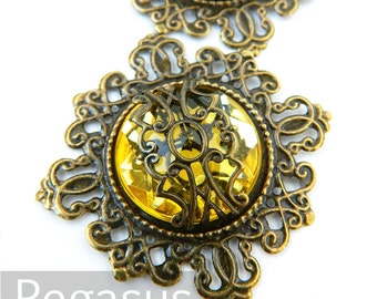 Peridot Yellow Mage Gem Medallion (3 Pieces)(12 Color Option)(FP02) Elven Fantasy pendant for larp necklace,elven circlets,steampunk cosplay