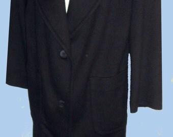 Women's Soft  J Crew Tailored Navy Blue  MAXI Length Coat SZ 10