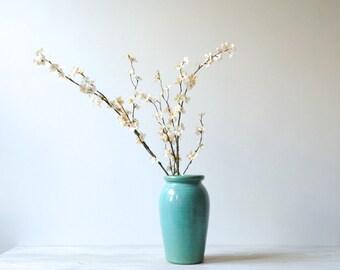 Vintage Vase, Green Pottery Vase, Flower Vase