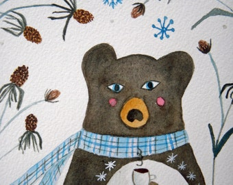 Winter Bear, original watercolor, bear with plaid scarf, blue and brown, seed pods, thistles, children's art, nursery art, whimsical