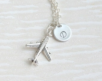 Personalized Airplane Necklace, Airplane Necklace, Personalized Friendfsip Necklace, Best Friend Pilot Gift, Travel Gift,Best Friend Jewelry