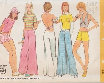 Simplicity 5640 / Vintage Sewing Pattern / Pants Shorts Blouse Halter Bra Top / Size 10