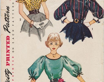 Simplicity 3955 / Vintage 50s Sewing Pattern / Blouse Shirt Top / Size 14 Bust 32