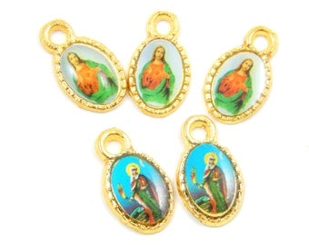 Catholic Medal Lot - Sacred Heart of Jesus - Virgin Mary Religious Charms - Christian Charm Lot of 6 - Rosary Charms - R1