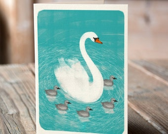 Swan and Cygnets - Mother's Day, Thank You, Birthday, Greetings Card