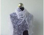 Xmas Sale Lace shawl ,White hand knitted cobweb shawl with beads,lace shawl,white wedding lace shawl