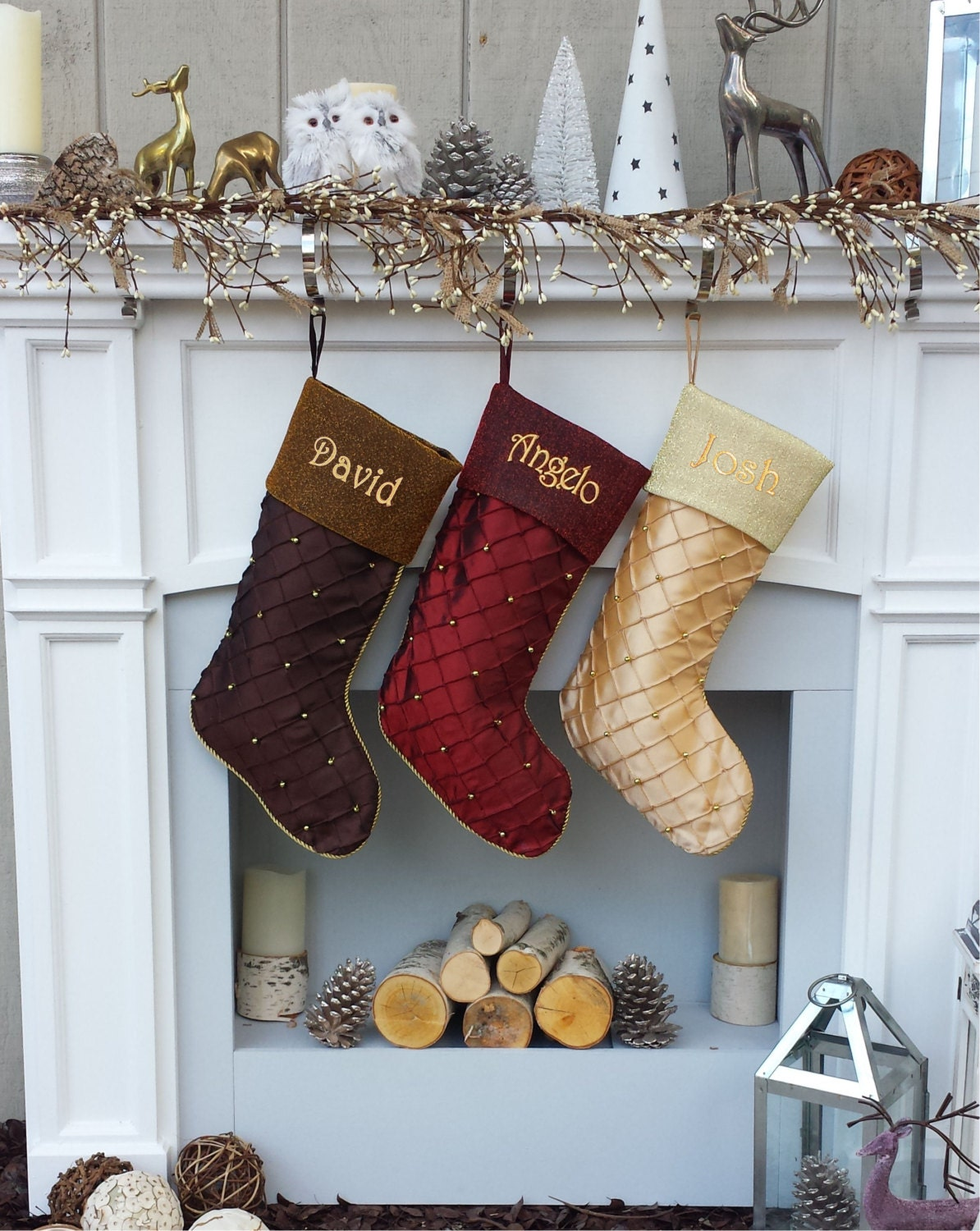 Personalized Christmas Stockings Gold Beads Quilted Custom