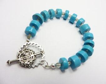 Turquoise Bracelet Czech Glass Beads Southwest Free Shipping