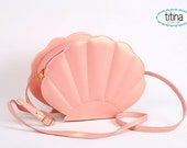 only one left iridescent peach mermaid sea shell bag  synthetic leather purse