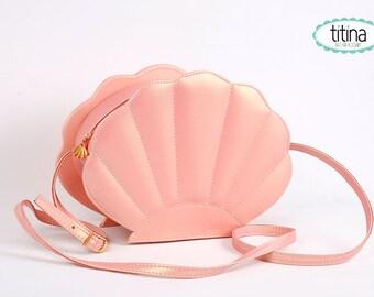 iridescent peach mermaid sea shell bag  synthetic leather purse