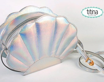 holographic silver fish scale texture mermaid sea shell bag/  synthetic leather bag