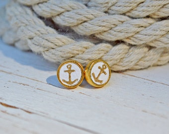 Women's Preppy Nautical Gold Anchor White Leather Stud Earrings