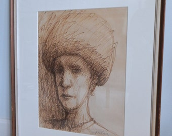 1980s NYC Original Scribble Sketch Street Artist M. Fuller The Woman in the Hat West Village Archival Matting Wonderful Midcentury Frame