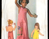 Reserved for Nehiandzotz 2 Vintage 1976 Kid's Halter Jumpsuit Patterns W/Ruffled Bells Simplicity 7557 Sz 4 & 5