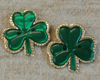 Pair of Vintage Green Shamrock Brooch Pins, Foil and Plastic