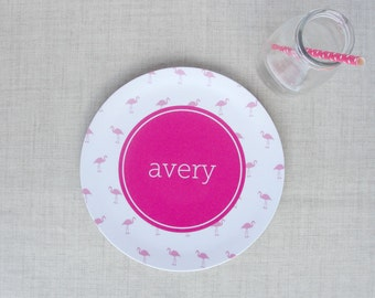 Mini Flamingo Pattern Personalized Melamine Plate | Flamingos for a Cure | Breast Cancer Awareness Gift | Monogram Snack Dinner Plate