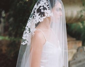 Sidney,Drop Veil, Ivory Lace Appliques Veil, Chapel Veil, Bridal Veil, Cathedral Veil, Bridal Wedding Veil, Drop Lace Appliques Veil, 2 Tier