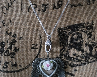 Steampunk gothic angel winged pearl heart assemblage shabby chic vintage lace silver pendant necklace