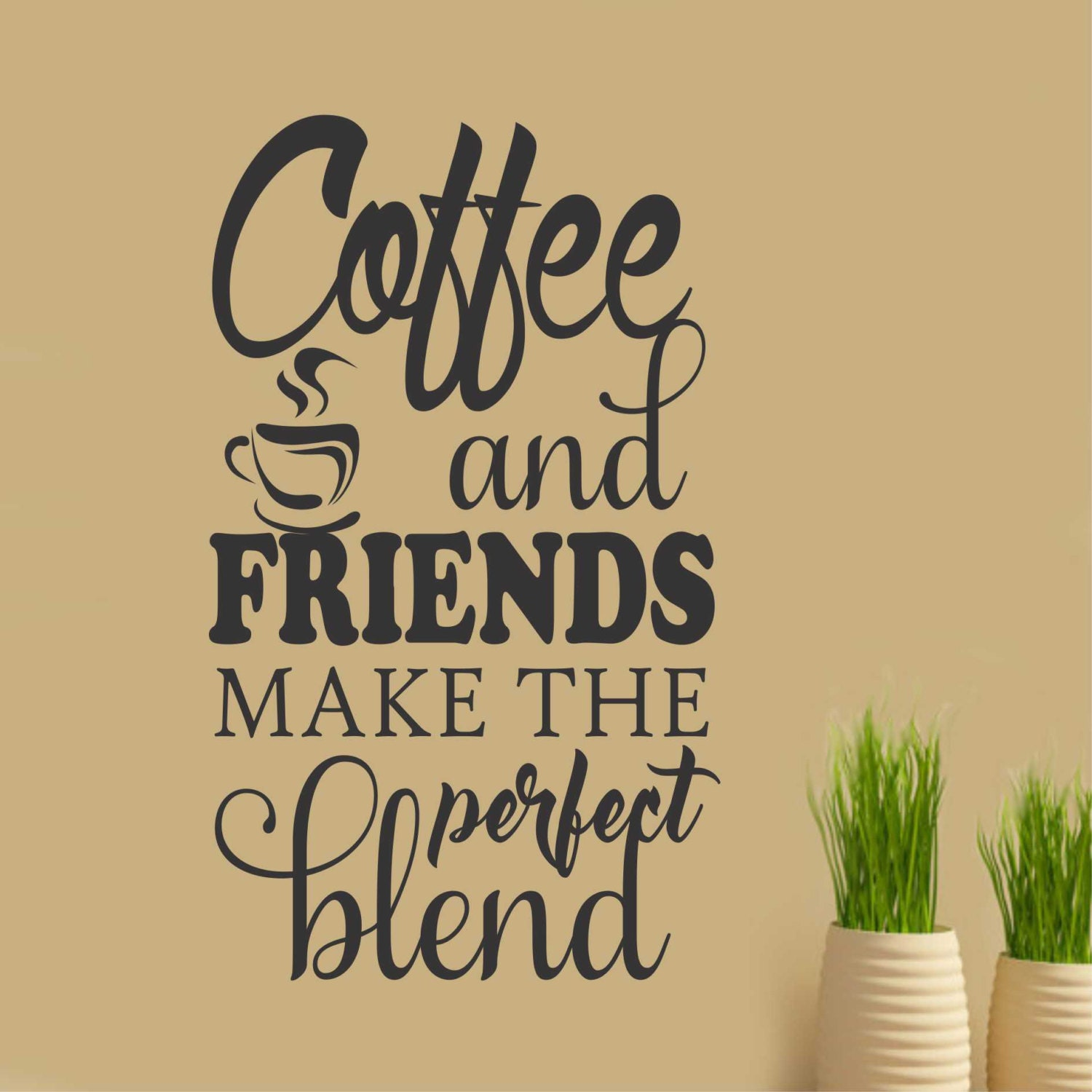 Coffee Quotes: Coffee And Friends Quote Vinyl Wall Lettering Vinyl Decals