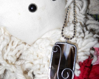 Black and white swirl stained glass pendant necklace